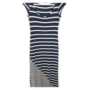 EVERLEIGH for ANTHROPOLOGY navy & tan striped maxi